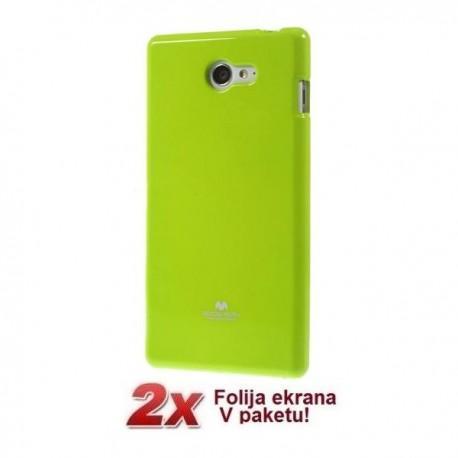Silikon etui za Sony Xperia M2 + 2x Folija High-Quality ,Zelena barva