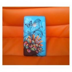 Silikon etui za Nokia Lumia 520,motiv cvet z metuljem na modrem+folija ekrana