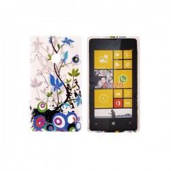 Silikon etui za Nokia Lumia 520,motiv krogci in vejice z listi+folija ekrana