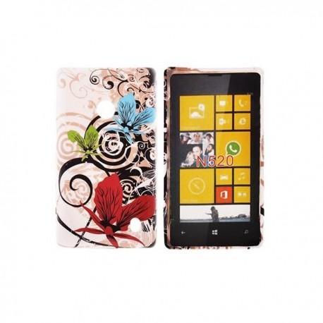 Silikon etui za Nokia Lumia 520,motiv cvetovi v treh barvah+folija ekrana
