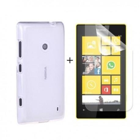 Silikon etui za Nokia Lumia 520,prozorna mat bela barva+Folija ekrana