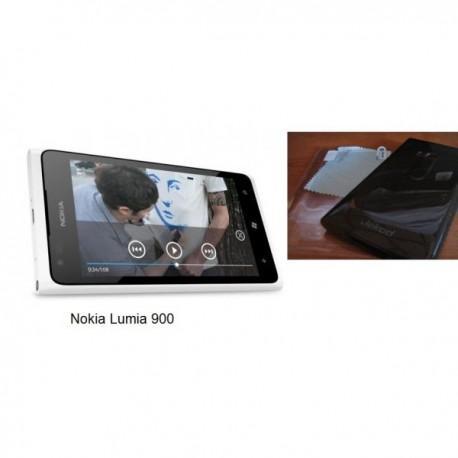 Silikon Etui za Nokia Lumia 900,prozorna črna barva+folija ekrana