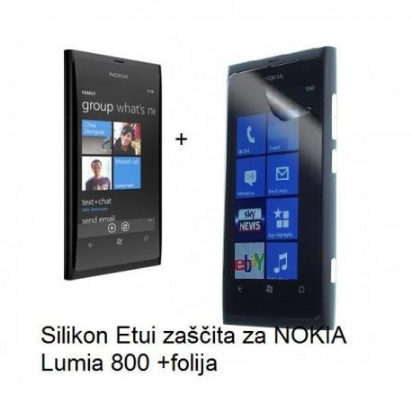 Silikon Etui za NOKIA Lumia 800,prozorno siva barva+folija ekrana