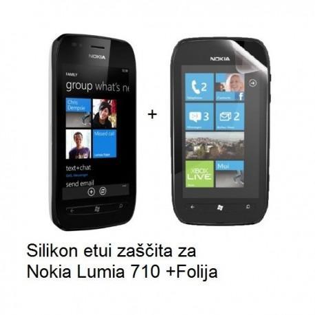 Silikon etui za Nokia Lumia 710,prozorna mat bela barva+folija ekrana