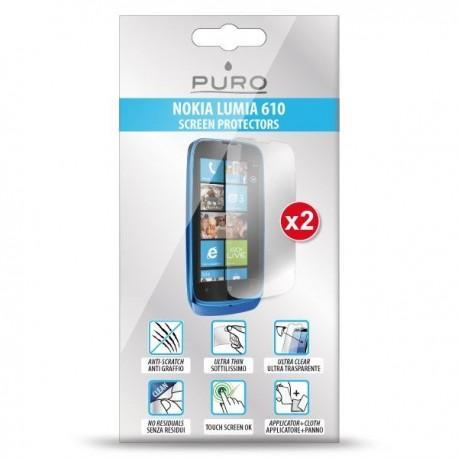 Zaščitna folija ekrana za Nokia Lumia 610,paket 2 v 1,Puro