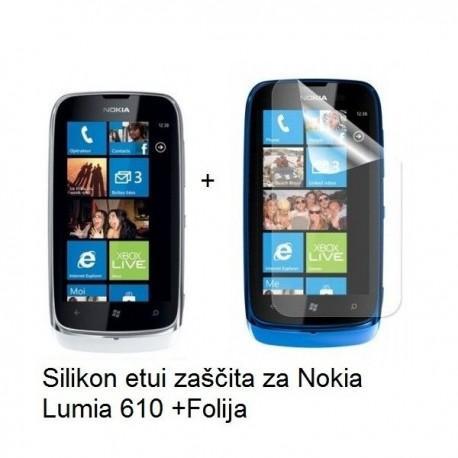 Silikon etui za Nokia Lumia 610,prozorna črna barva+folija ekrana