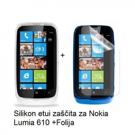 Silikon etui za Nokia Lumia 610,prozorna mat bela barva+folija ekrana,Jekod