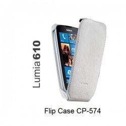 Torbica za Nokia Lumia 610,preklopna,bela barva,original Nokia CP-574