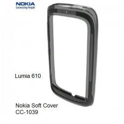Silikon bumper etui za Nokia Lumia 610,prozorna črna barva,original Nokia CC-1039