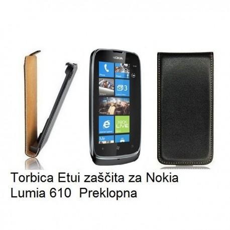 Torbica za Nokia Lumia 610,preklopna,črna barva