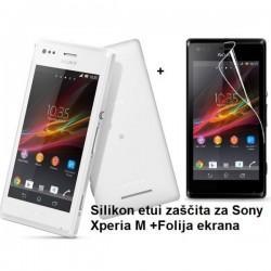 Silikon etui za Sony Xperia M,prozorna mat bela barva+folija ekrana,Jekod