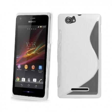 Silikon etui za Sony Xperia M,prozorna in mat bela barva,motiv S+folija ekrana
