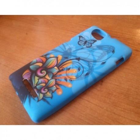 Silikon etui za Sony Xperia M,modra barva,motiv cvetje z metulji+folija ekrana