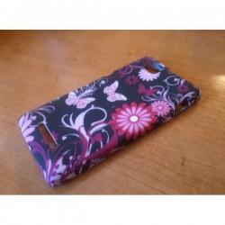 Silikon etui za Sony Xperia M,črna in pink barva,motiv cvetje z metulji+folija ekrana