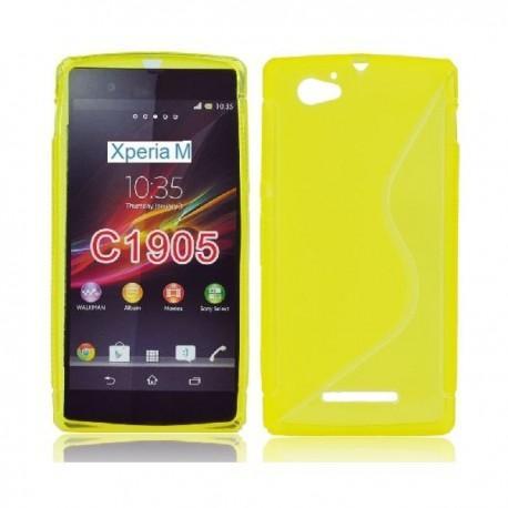 Silikon etui za Sony Xperia M,rumena barva,motiv S+folija ekrana