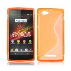 Silikon etui za Sony Xperia M,oranžna barva,motiv S+folija ekrana