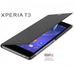 Torbica za Sony Xperia T3,preklopna,karbon črna barva,Roxfit