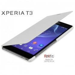 Torbica za Sony Xperia T3,preklopna,karbon bela barva,Roxfit