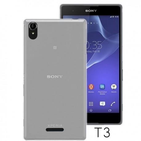 Silikon etui za Sony Xperia T3,prozorna mat bela barva+folija ekrana,Jekod