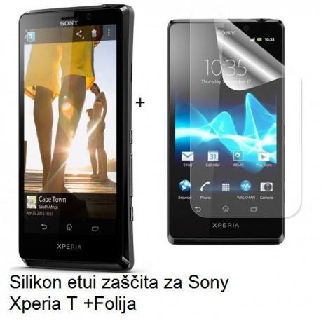 Silikon etui za Sony Xperia T,prozorna črna barva+folija ekrana,Jekod