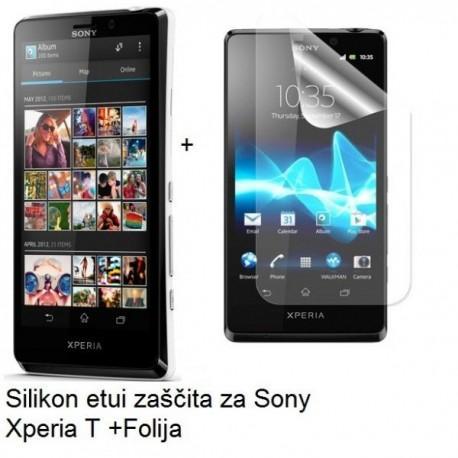 Silikon etui za Sony Xperia T,prozorna mat bela barva+folija ekrana,Jekod