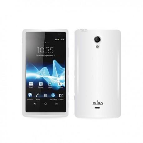 Silikon etui za Sony Xperia T,prozorna mat bela barva,Puro