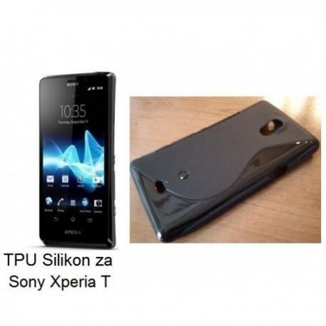 Silikon etui za Sony Xperia T,črna barva,motiv S