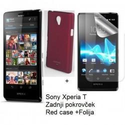 Etui za Sony Xperia T,zadnji pokrovček,bordo rdeča barva+folija ekrana,Jekod