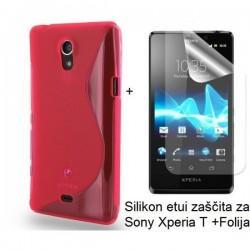 Silikon etui za Sony Xperia T,rdeča barva,motiv S+folija ekrana