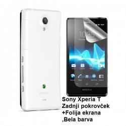 Etui za Sony Xperia T,zadnji pokrovček,bela barva+folija ekrana,Jekod