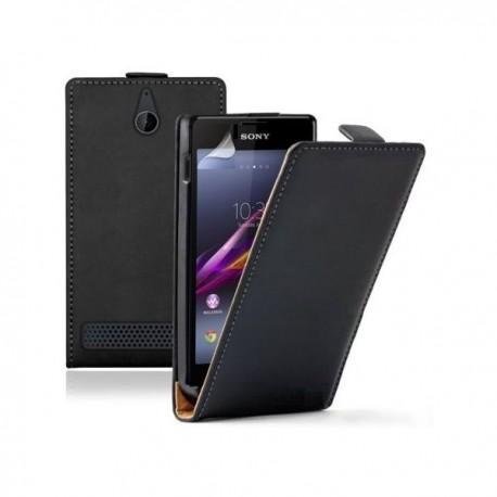 Torbica za Sony Xperia E1,E1 Dual,preklopna,črna barva+folija ekrana