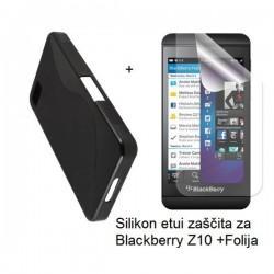 Silikon etui za Blackberry Z10 +Folija, črna barva