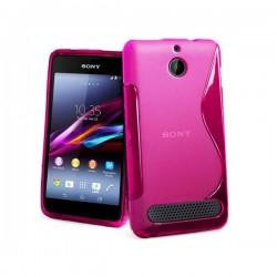 Silikon etui za Sony Xperia E1,E1 Dual,pink barva,motiv S+folija ekrana