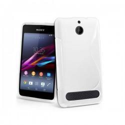 Silikon etui za Sony Xperia E1,E1 Dual,prozorna mat bela barva,motiv S+folija ekrana
