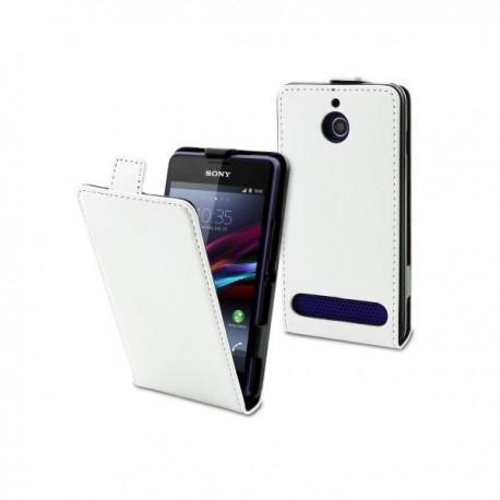 Torbica za Sony Xperia E1,E1 Dual,preklopna,bela barva+folija ekrana