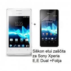 Silikon etui za Sony Xperia E,E Dual,prozorna mat bela barva+folija ekrana,Jekod