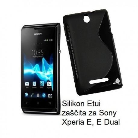 Silikon Etui za Sony Xperia E, E Dual,črna barva,motiv S