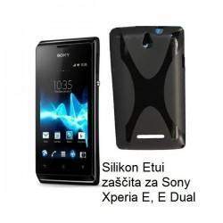 Silikon Etui za Sony Xperia E,E Dual,črna barva,motiv X
