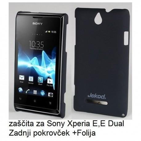 Etui za Sony Xperia E,E Dual,zadnji pokrovček,črna barva+folija ekrana,Jekod