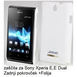 Etui za Sony Xperia E,E Dual,zadnji pokrovček,bela barva+folija ekrana,Jekod