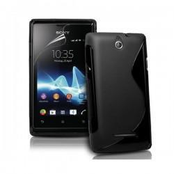 Silikon etui za Sony Xperia E,E Dual,črna barva,motiv S+folija ekrana
