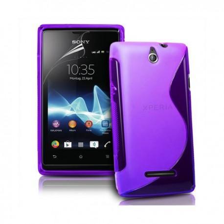 Silikon etui za Sony Xperia E,E Dual,vijola barva,motiv S+folija ekrana