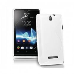 Silikon etui za Sony Xperia E,E Dual,bela barva,motiv S+folija ekrana