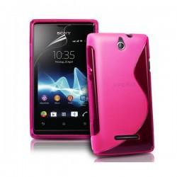 Silikon etui za Sony Xperia E,E Dual,pink barva,motiv S+folija ekrana
