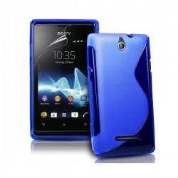 Silikon etui za Sony Xperia E,E Dual,modra barva,motiv S+folija ekrana