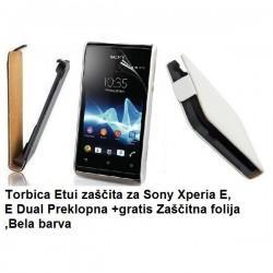 Torbica za Sony Xperia E,E Dual,preklopna,bela barva+folija ekrana