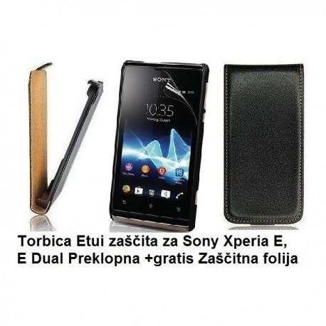 Torbica za Sony Xperia E,E Dual,preklopna,črna barva+folija ekrana