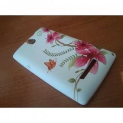 Silikon Etui za Sony Xperia E,E Dual,bela barva,motiv cvetje z metulji