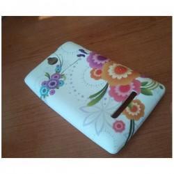 Silikon Etui za Sony Xperia E,E Dual,bela barva,motiv cvetje v barvah