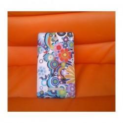 Silikon etui za Sony Xperia E,E Dual,bela barva,motiv barvno cvetje+folija ekrana
